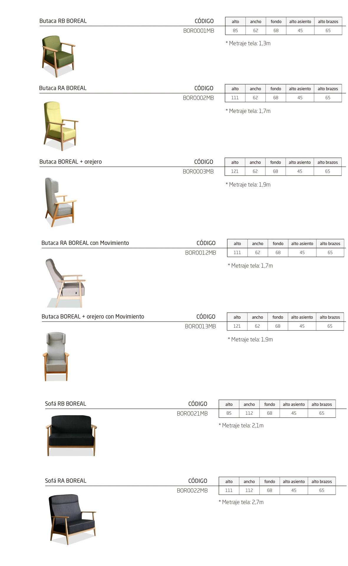 Modelos de la colección BOREAL, butacas tradicionales para instalación geriátrica.