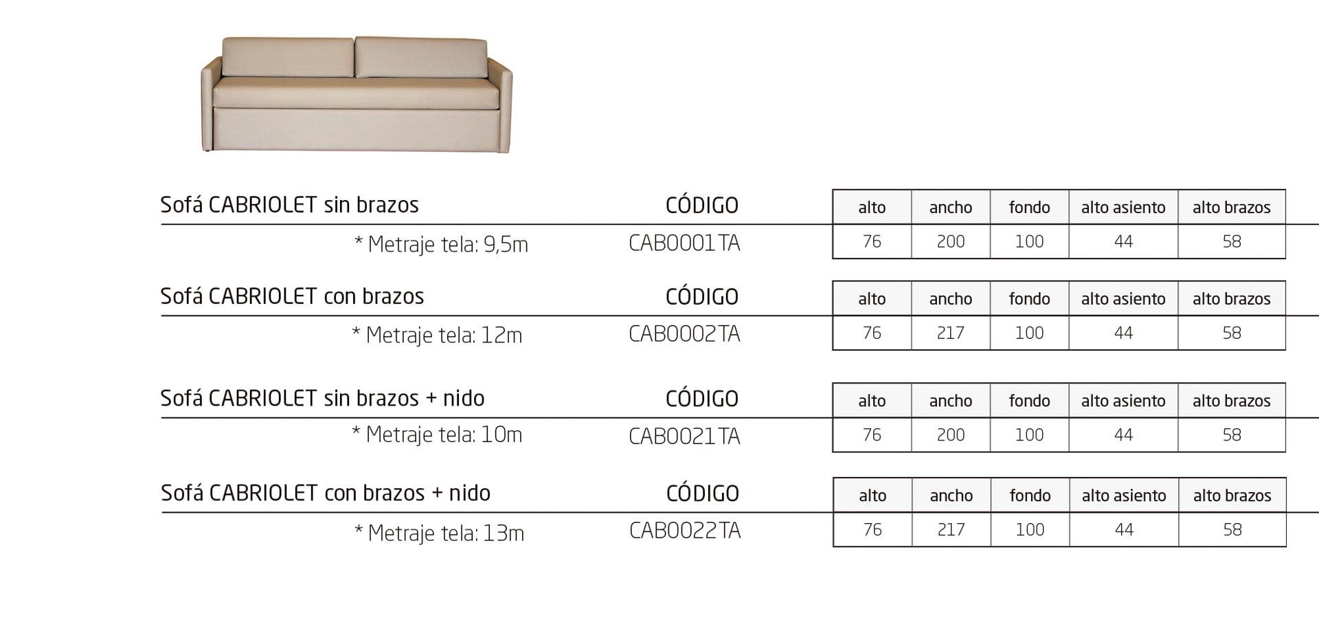 Modelos de la colección CABRIOLET: sofás con o sin nido para residencias e instalaciones hospitalarias