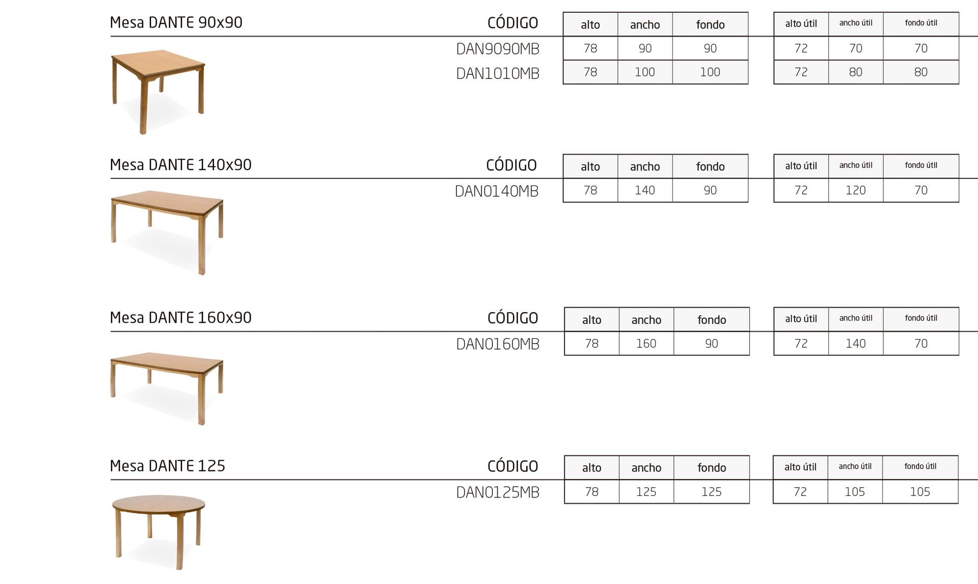 Modelos de la colección DANTE: mobiliario adaptado para personas dependientes