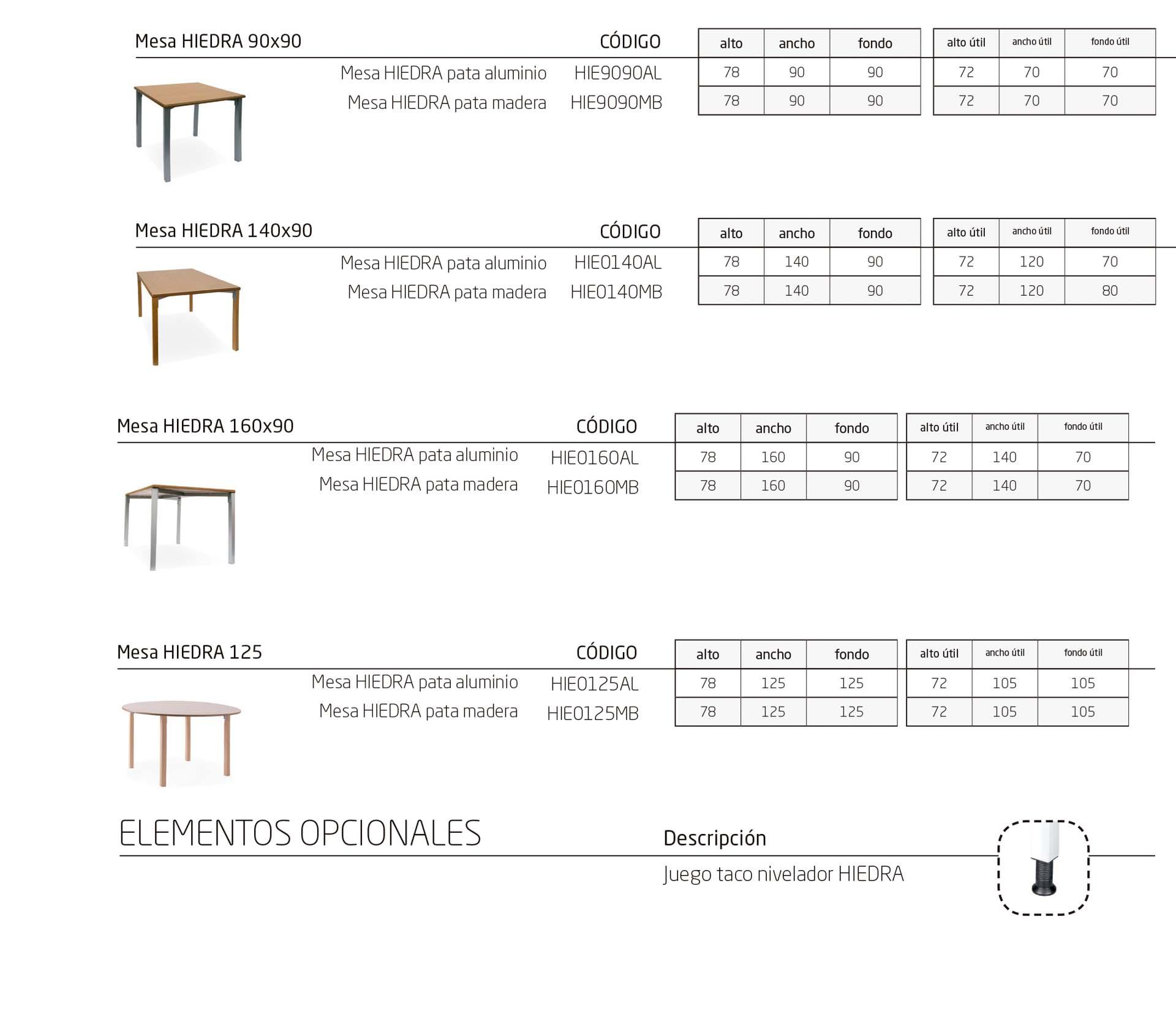 Modelos de la colección HIEDRA: mesas y mobiliario de instalación geriátrica