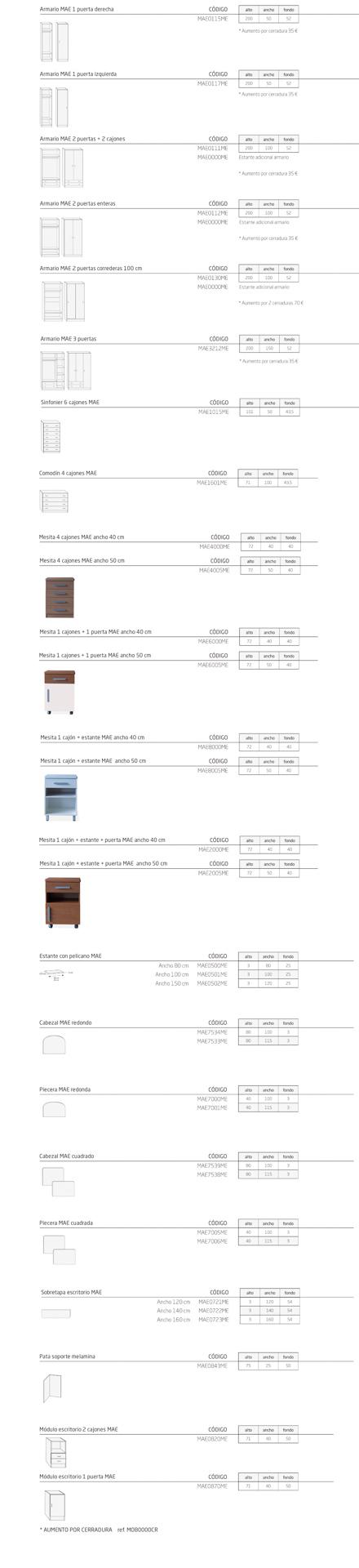 Modelos de la colección MAE: mobiliario geriátrico
