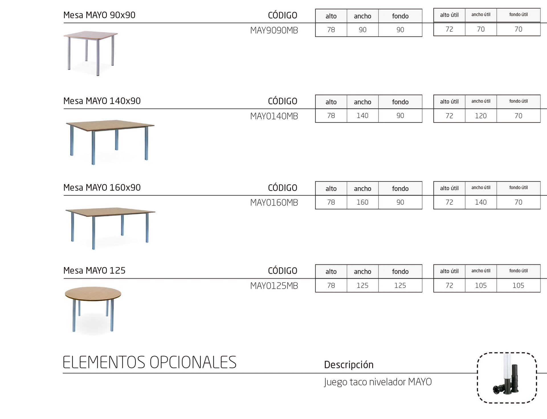 Modelos de la colección MAYO: mesas para entornos geriátricos y hospitalarios