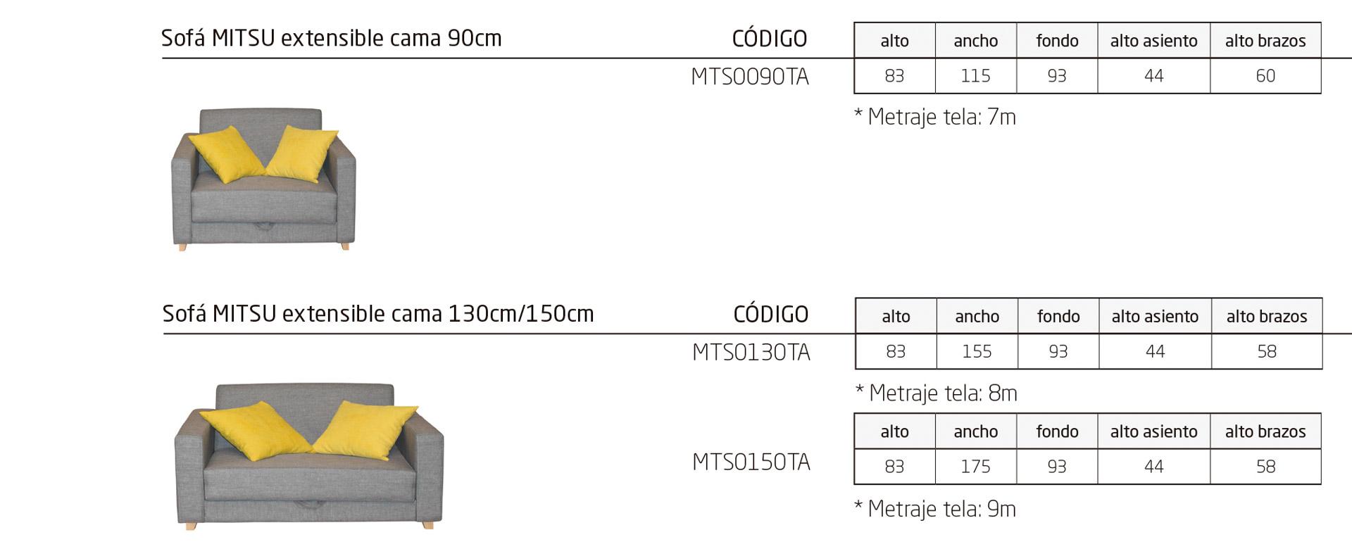 Modelos de la colección MITSU, sofá cama geriatría con mecanismo de apertura fácil