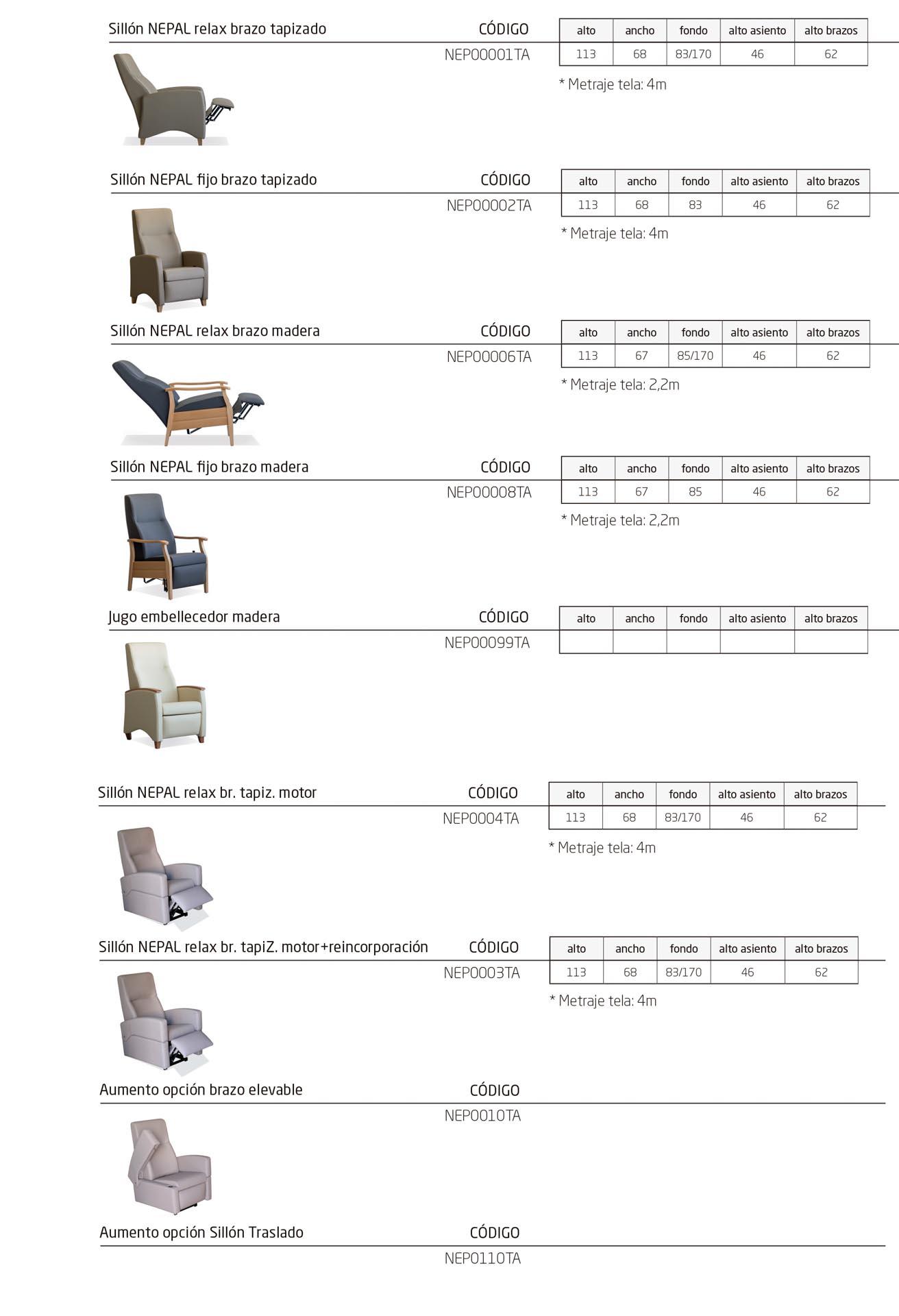 Modelos de la colección NEPAL: sillones ergonómicos para personas mayores