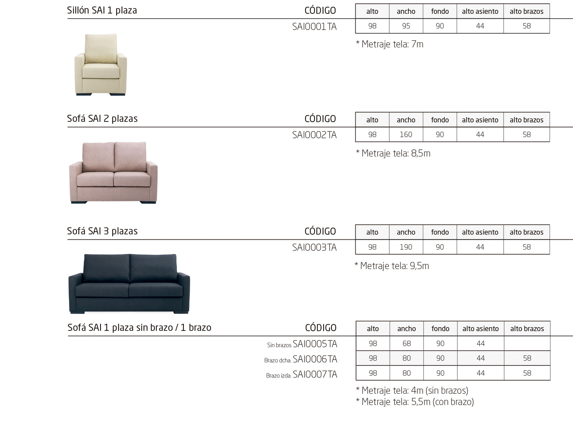 Sofás para geriátricos y residencias de diseño sencillo de la colección SAI