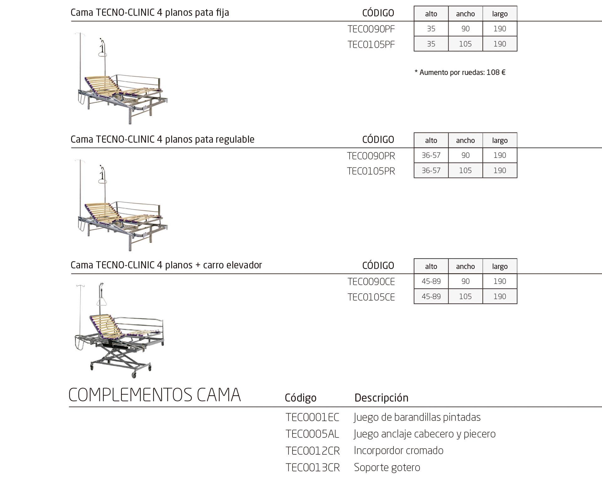 Modelos de la colección TECNO CLINIC, cama articulada eléctrica