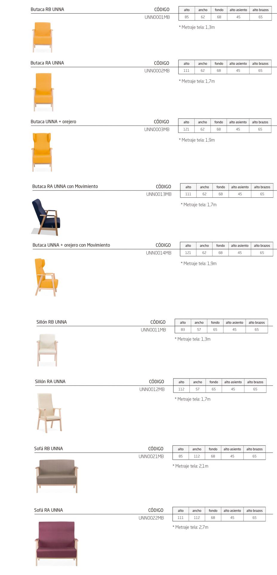 Modelos de la colección UNNA, butacas tradicionales para instalación y geriatría