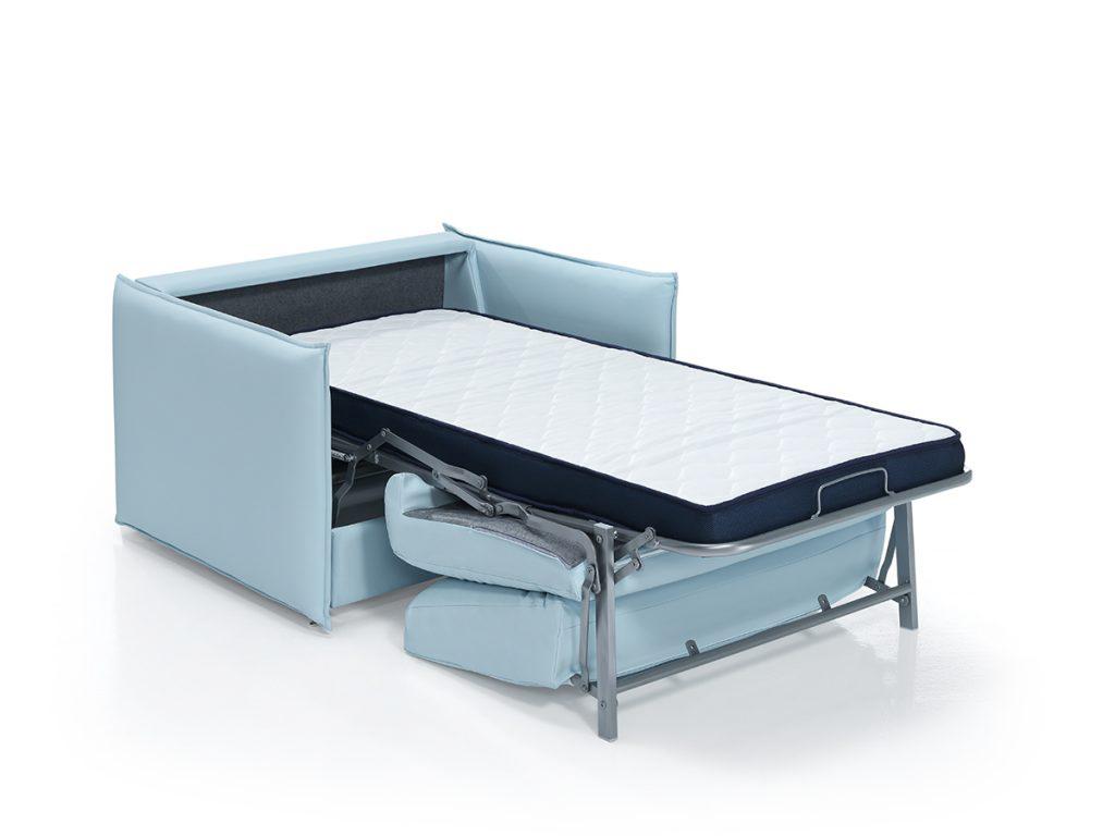 Sofá cama para residencias y geriátricos en tono azul