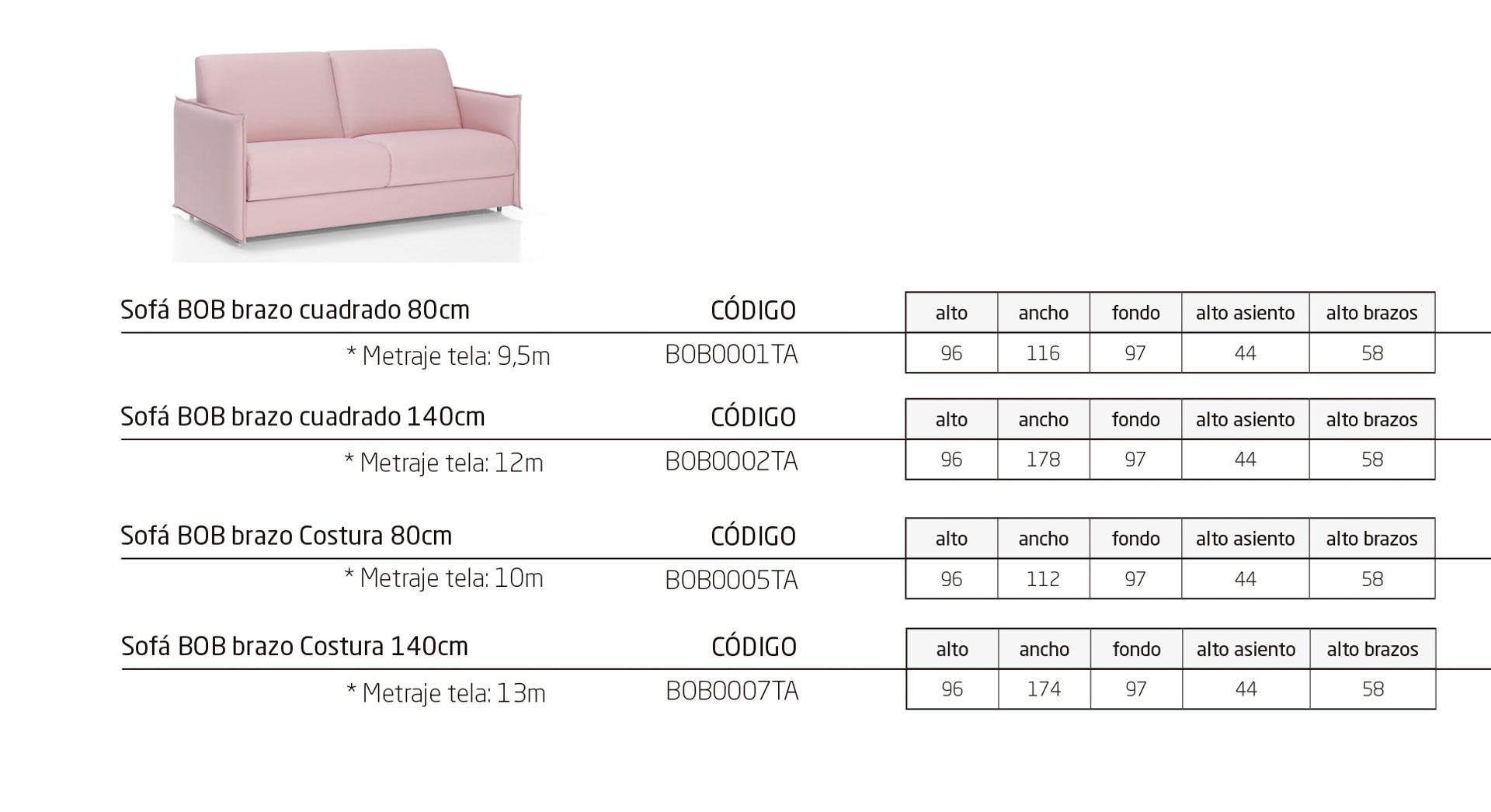 Modelos de la colección BOB: sofá cama para residencias y geriátricos